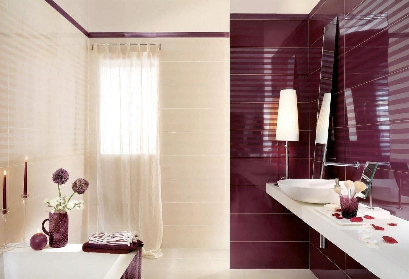 Плитка бордовая для ванной комнаты