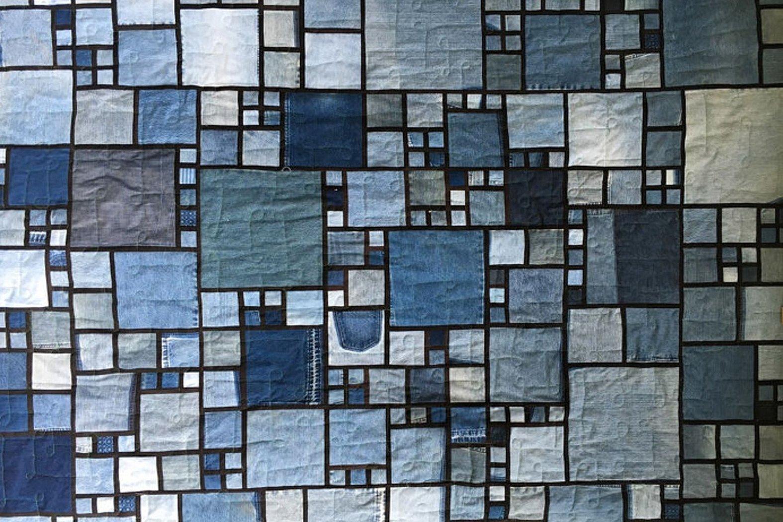 Мозаичный ковёр из джинсов