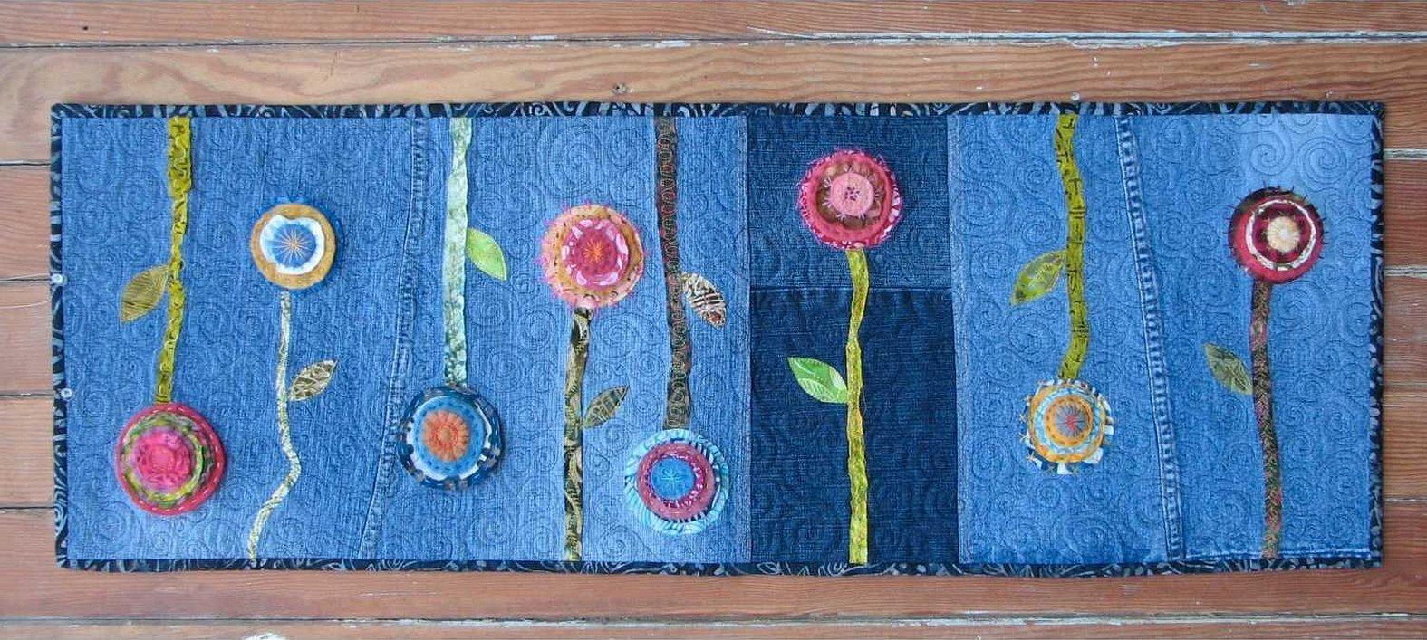 Вышивка и аппликация из ткани и ниток картина