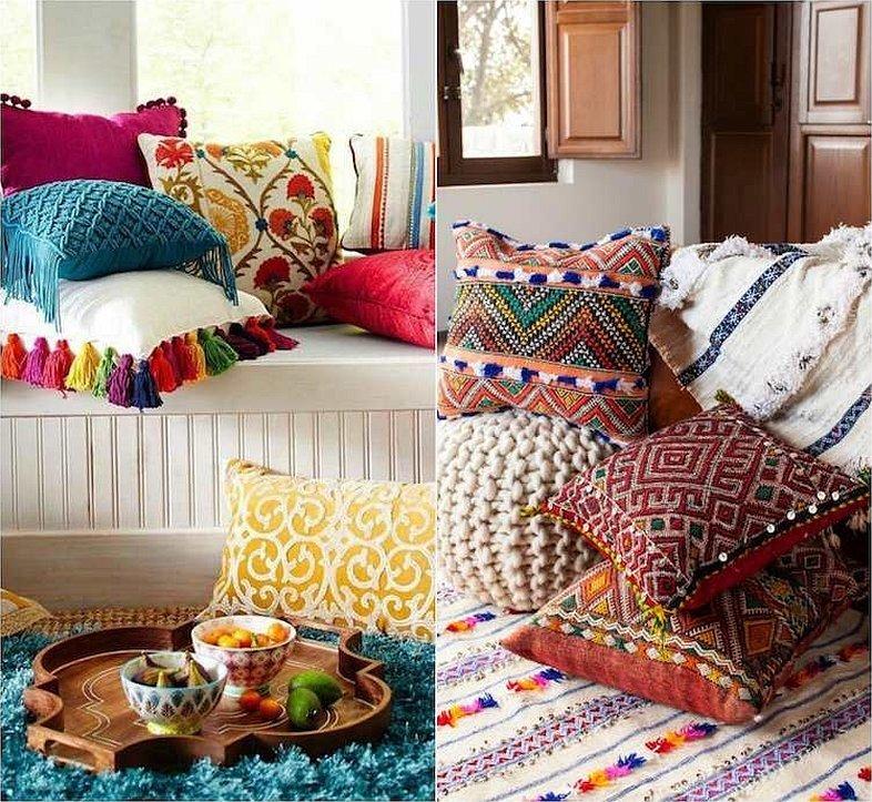 Интерьерные подушки в стиле бохо