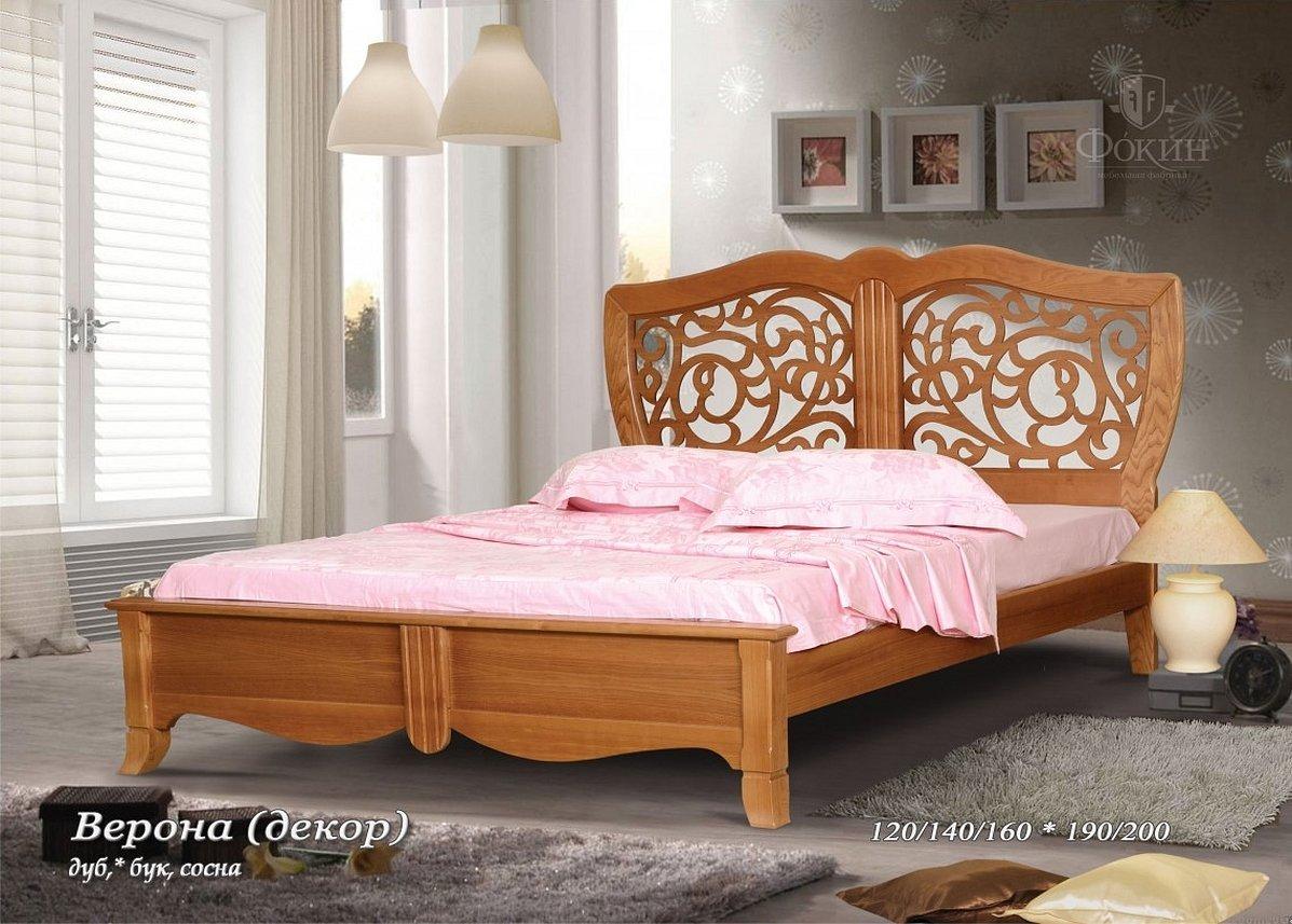 Кровать двуспальная деревянное резное изголовье