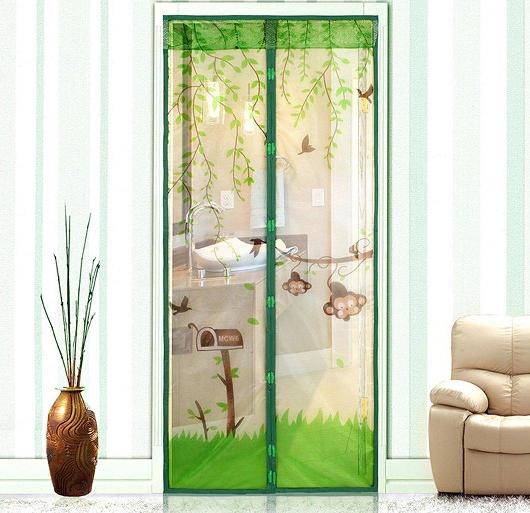 Москитная штора с рисунком на магнитах зеленая на двери