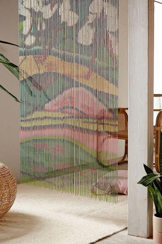Бамбуковые шторы ниточные на дверной проем