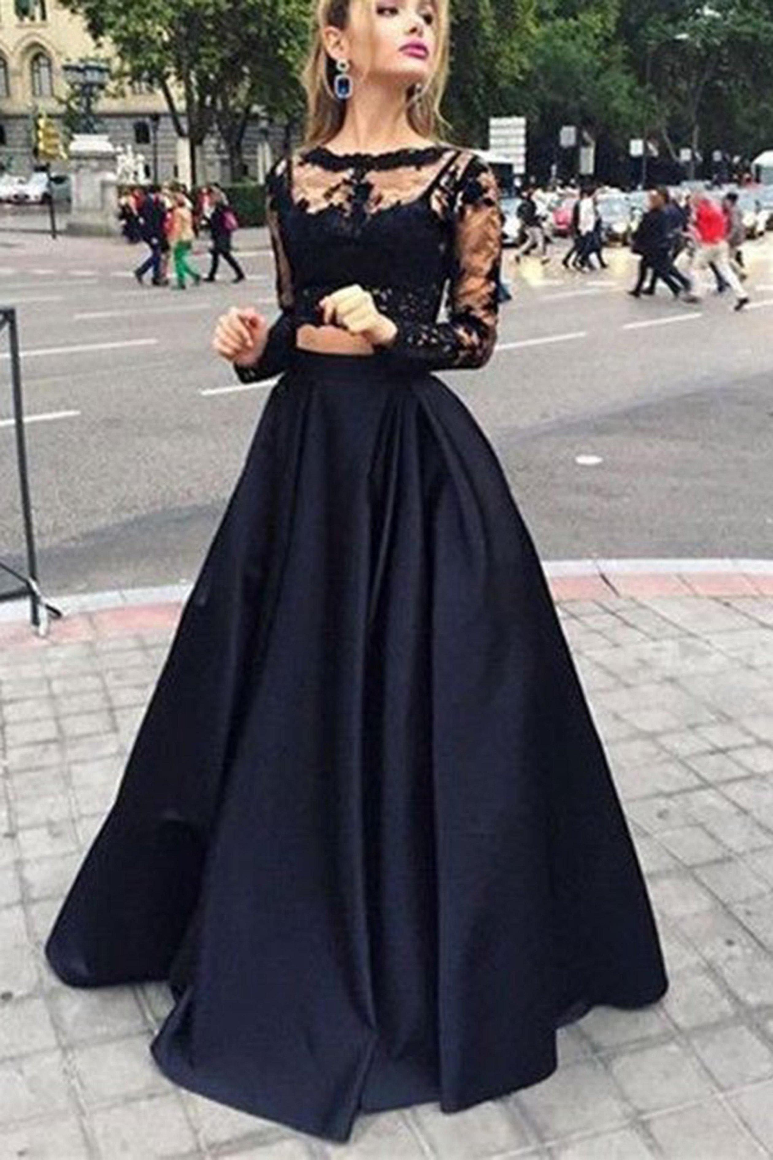 Черное платье топ и юбка на выпускной