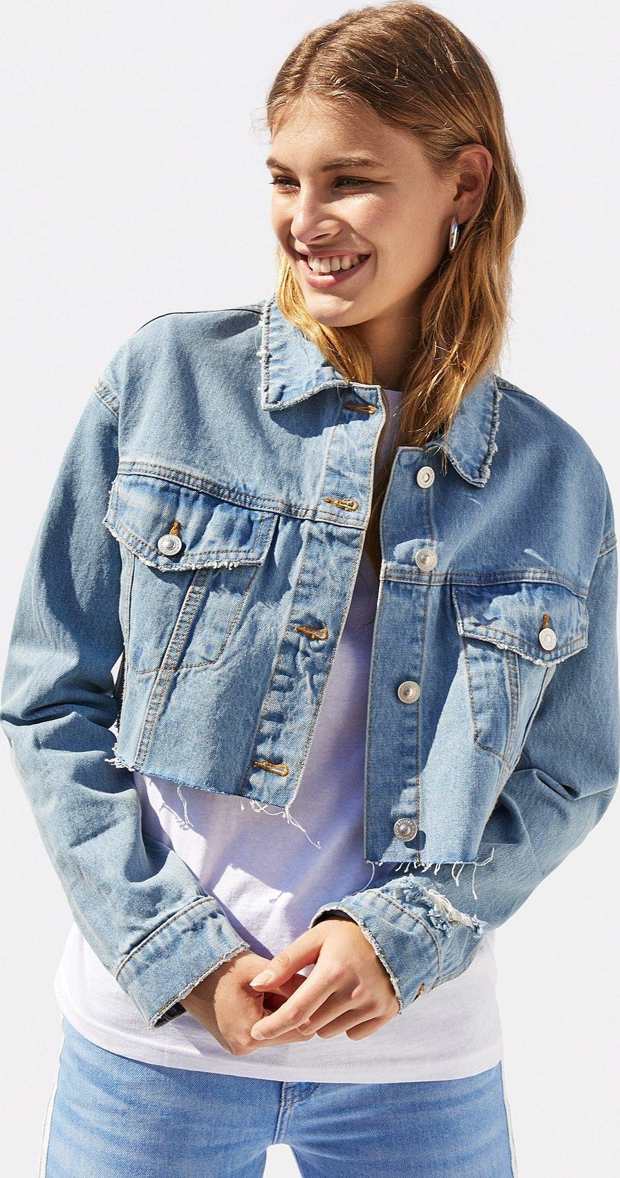 Джинсовая куртка женская укороченная
