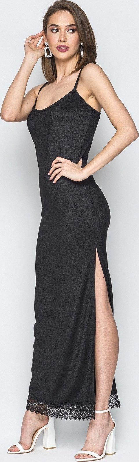 Черное платье длинное с разрезом и одним рукавом