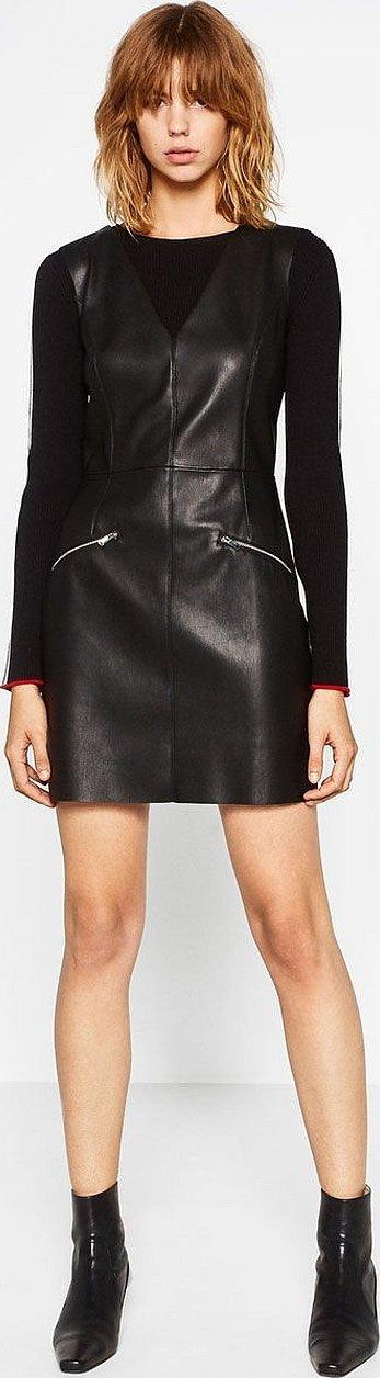 Кожаное черное платье zara