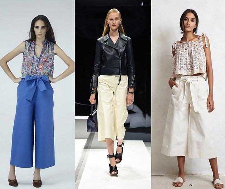 Широкие укороченные летние брюки