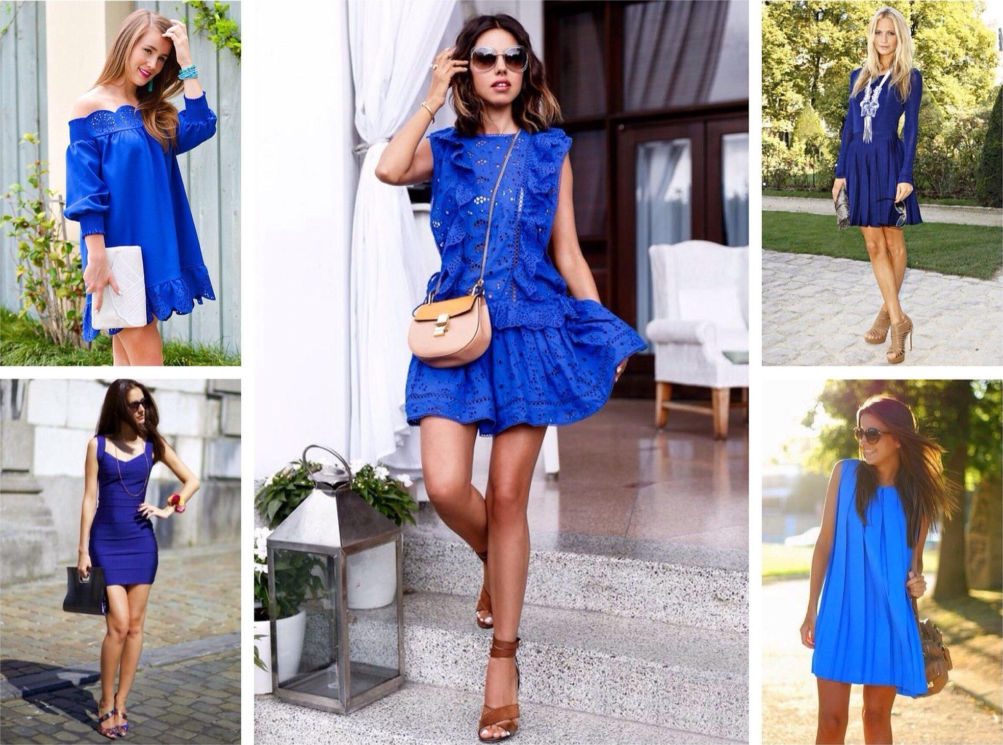 Летнее синее легкое платье образ