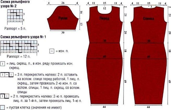 Бордовое платье спицами схема