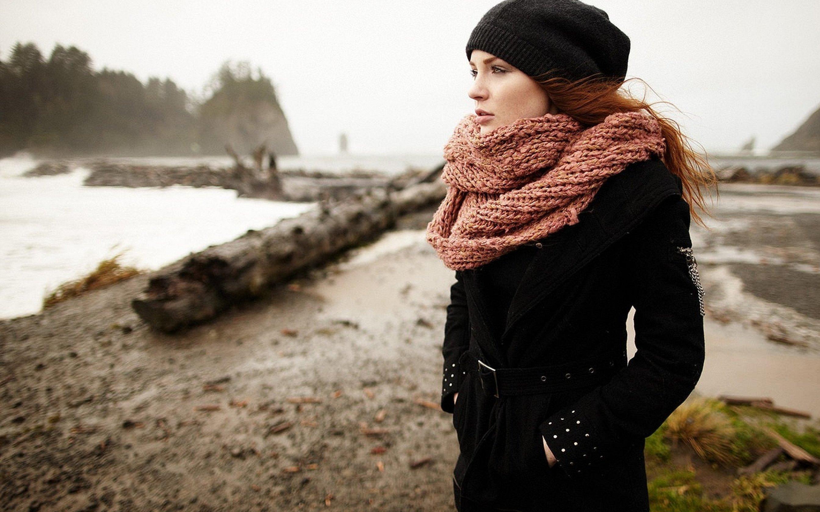 Фотосессия с шарфом зимой