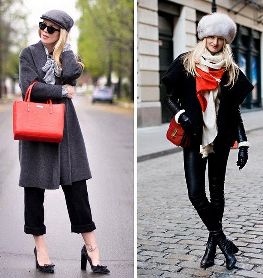 Образ серое пальто красная сумка