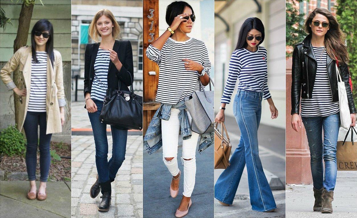 Образ с тельняшкой и джинсами