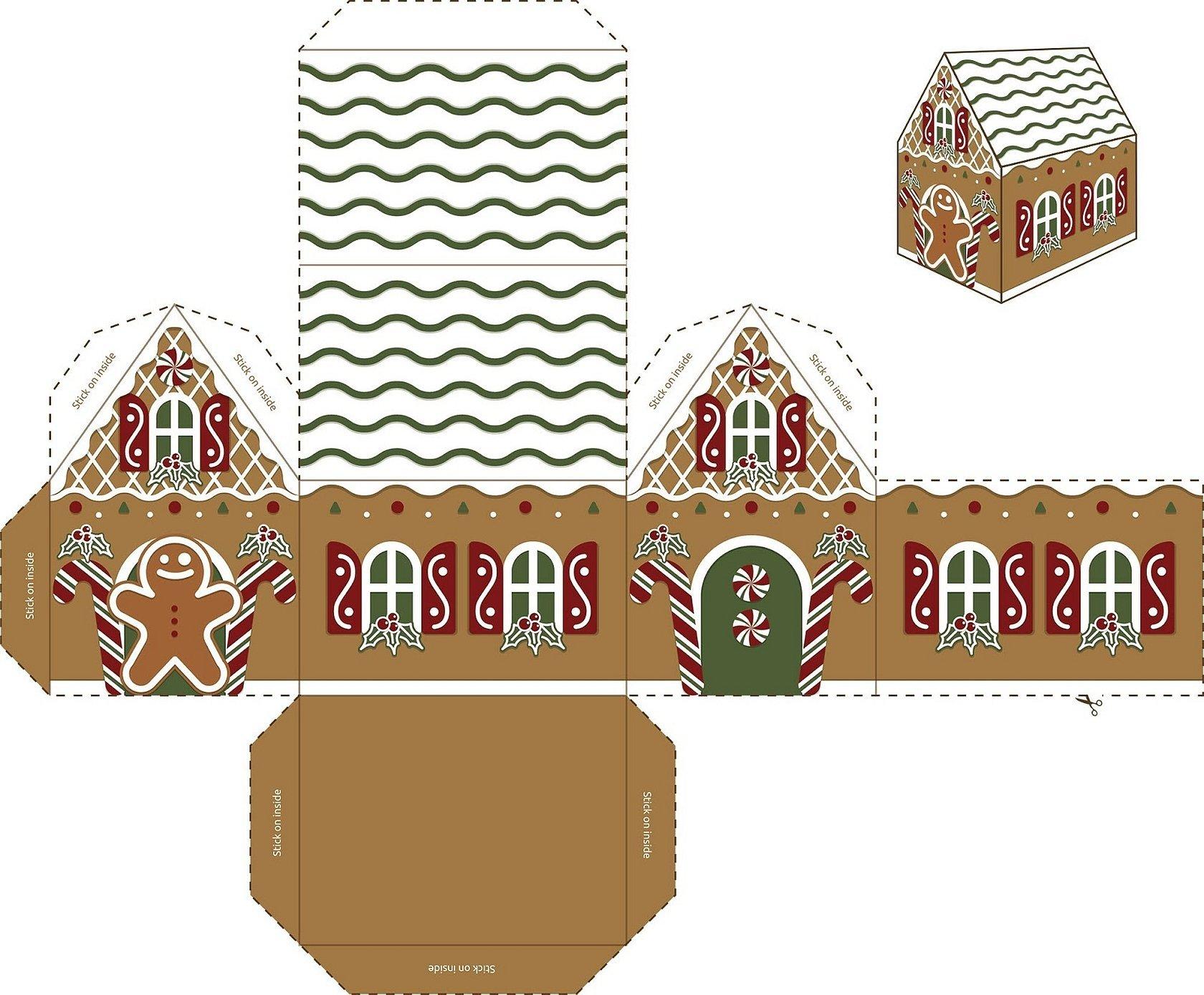 Адвент шаблон бумажный пряничный домик