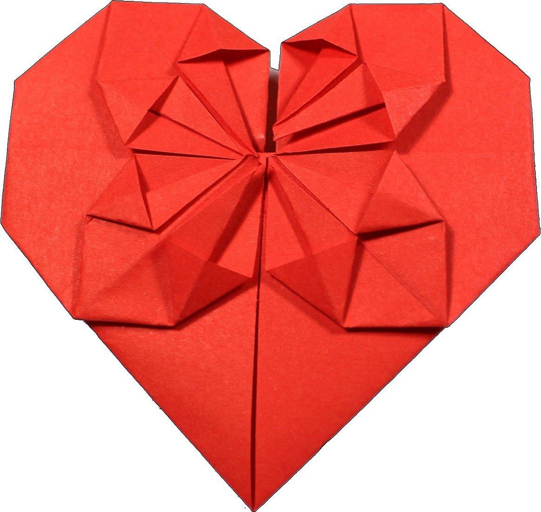 Оригами сердце из бумаги схема