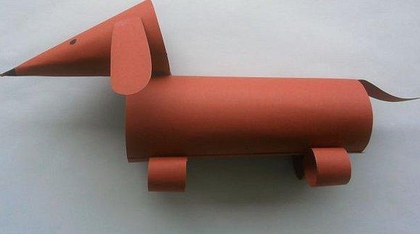 Поделка собака такса для детей из бумаги