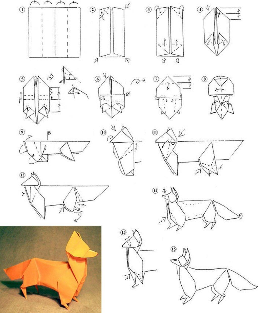 Оригами из бумаги лиса схема