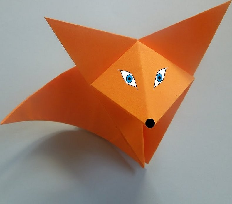 Оригами из бумаги лисичка