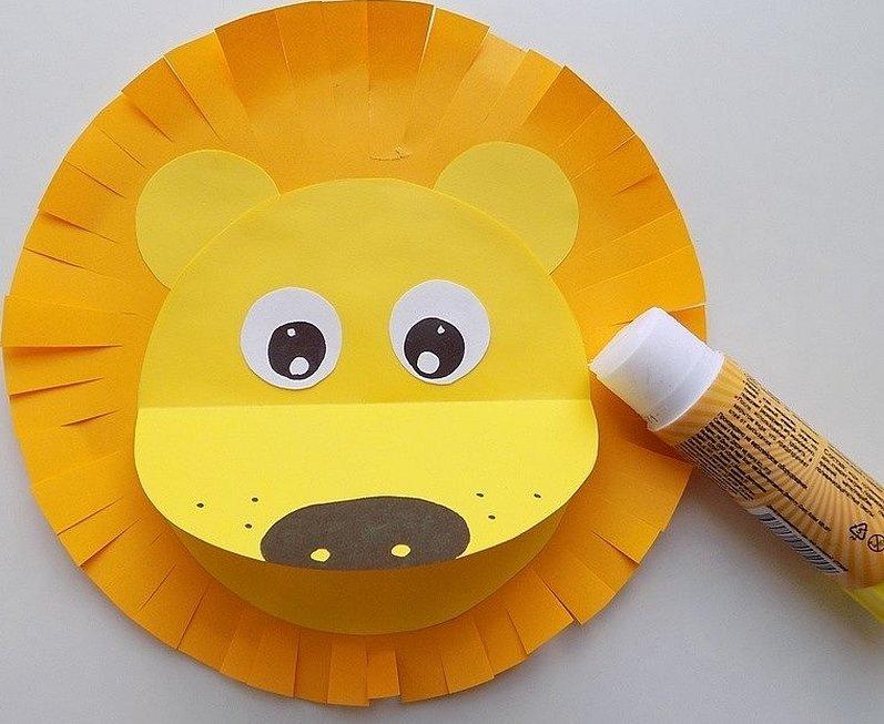 Аппликация львенок из цветной бумаги