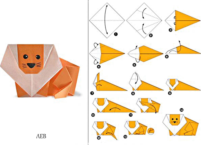 Животные из бумаги оригами для детей