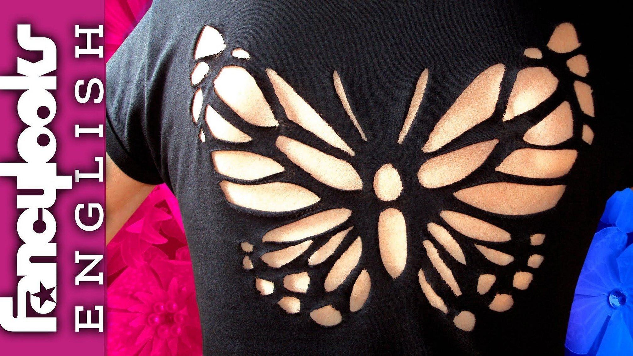 Декор футболки прорезями трафарет