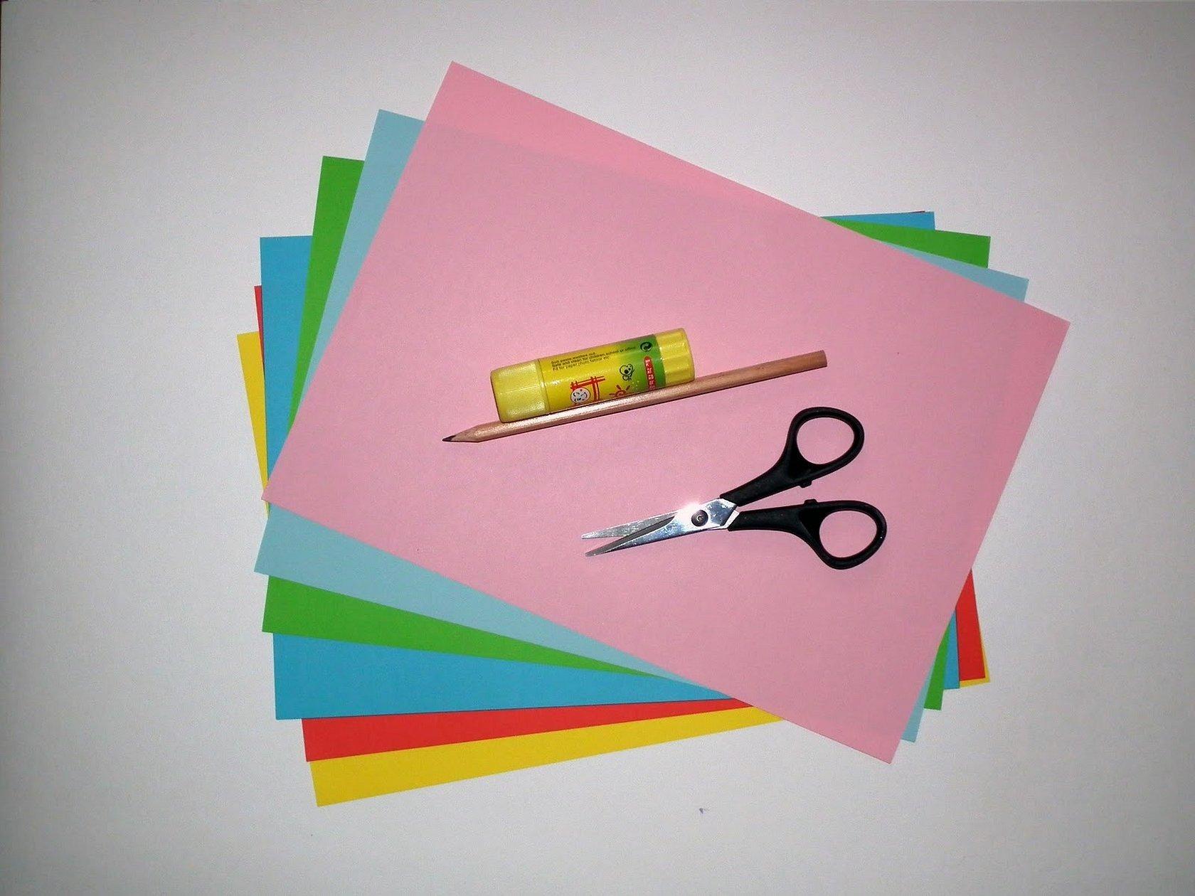 Цветная бумага картон клей ножницы