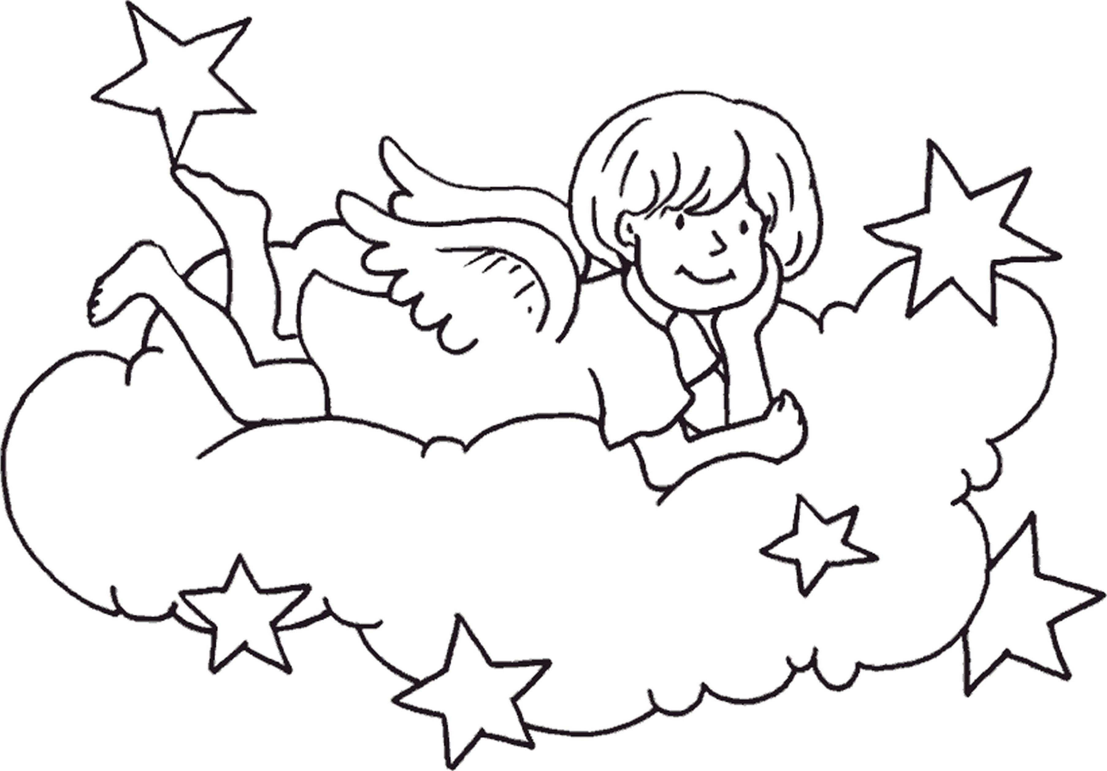 Рождественская открытка ангелочки раскраска для детей