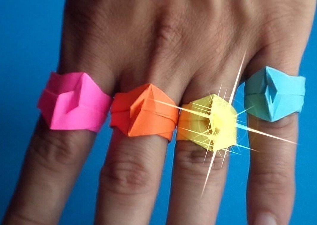 Оригами кольцо из бумаги сердце