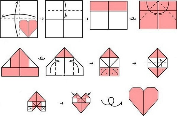 Сердечко оригами из бумаги схема