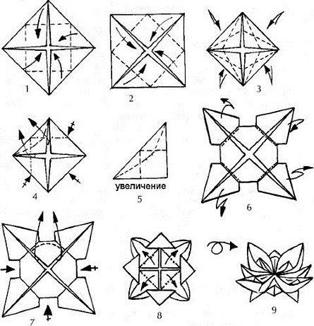 Водяная лилия оригами схема