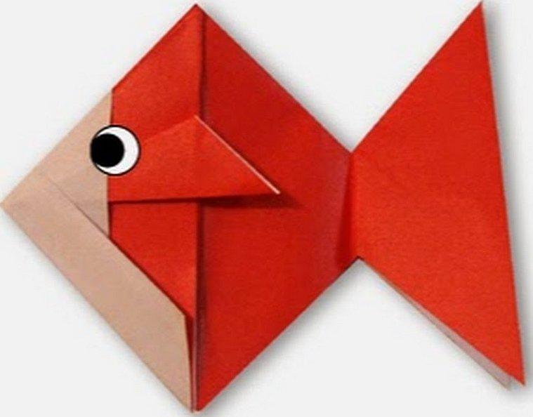 Оригами из бумаги рыбка схема для начинающих