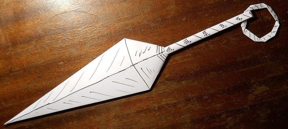 Вырезать кунай из бумаги