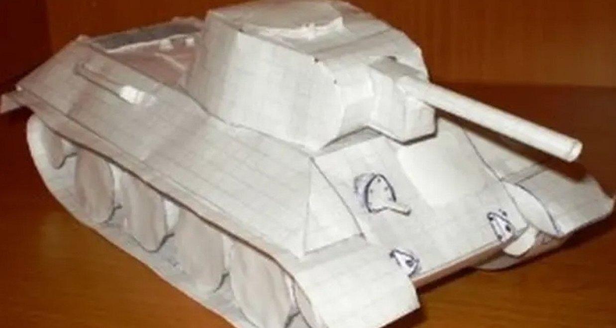 Сделать из бумаги танк