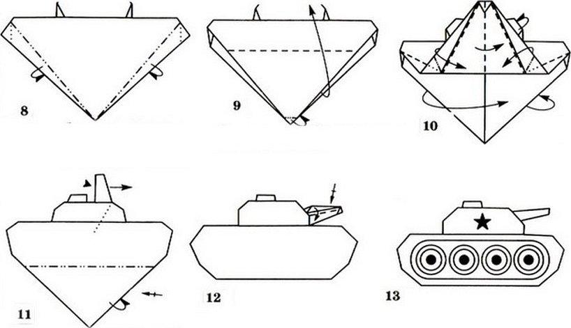 Танк из бумаги легкая схема