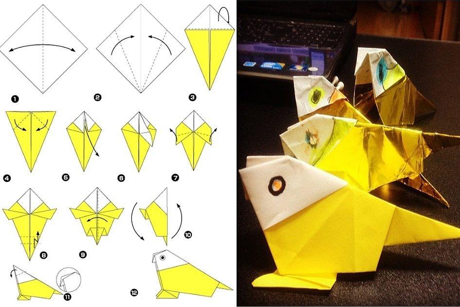Оригами попугай из бумаги схема