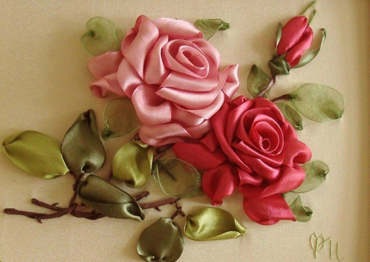 Вышивка лентами розы картины
