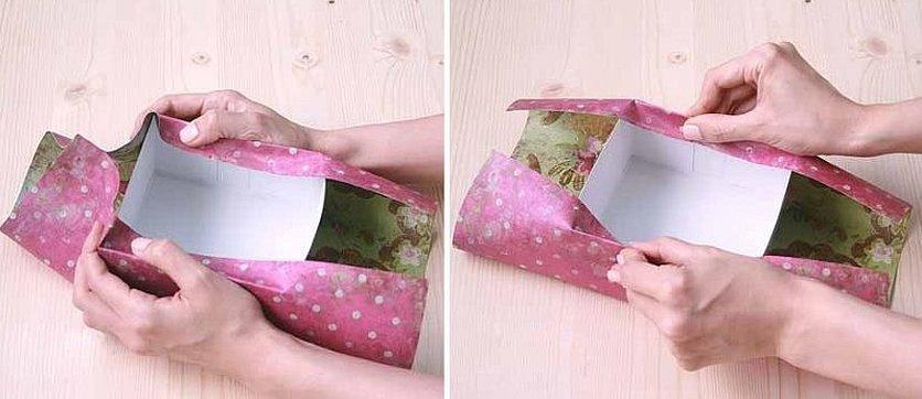 Обклеить коробку упаковочной бумагой
