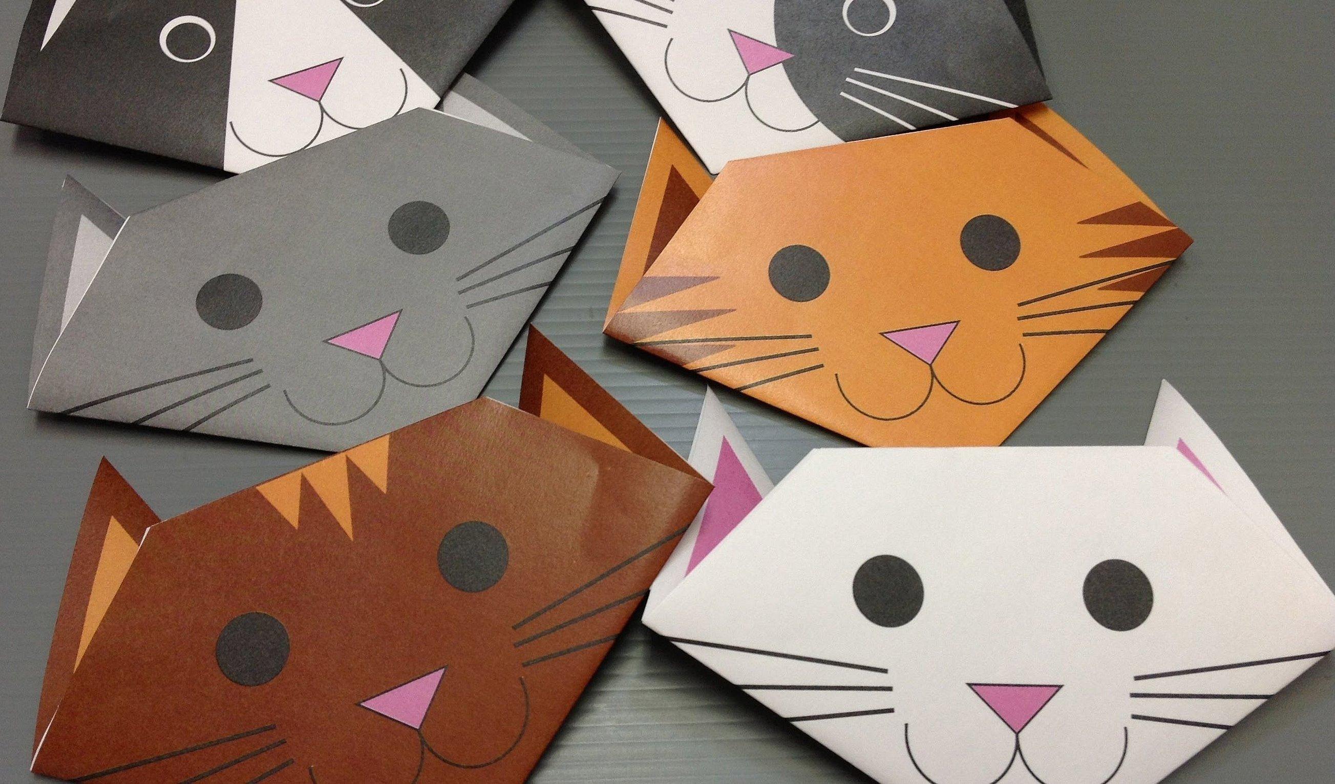 Кошка из бумаги оригами
