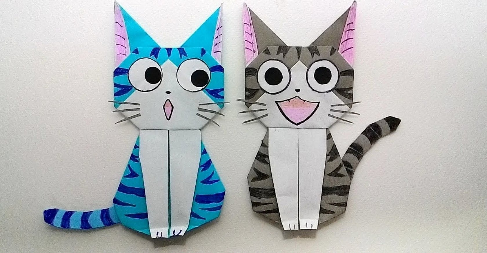 Кошка из оригами из бумаги
