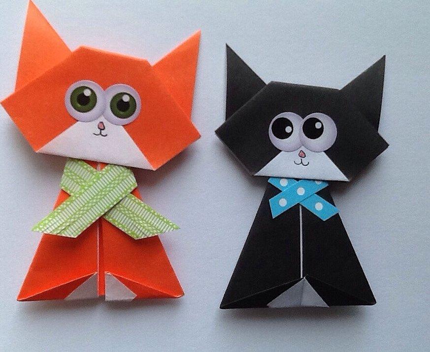 Оригами котик коробочка