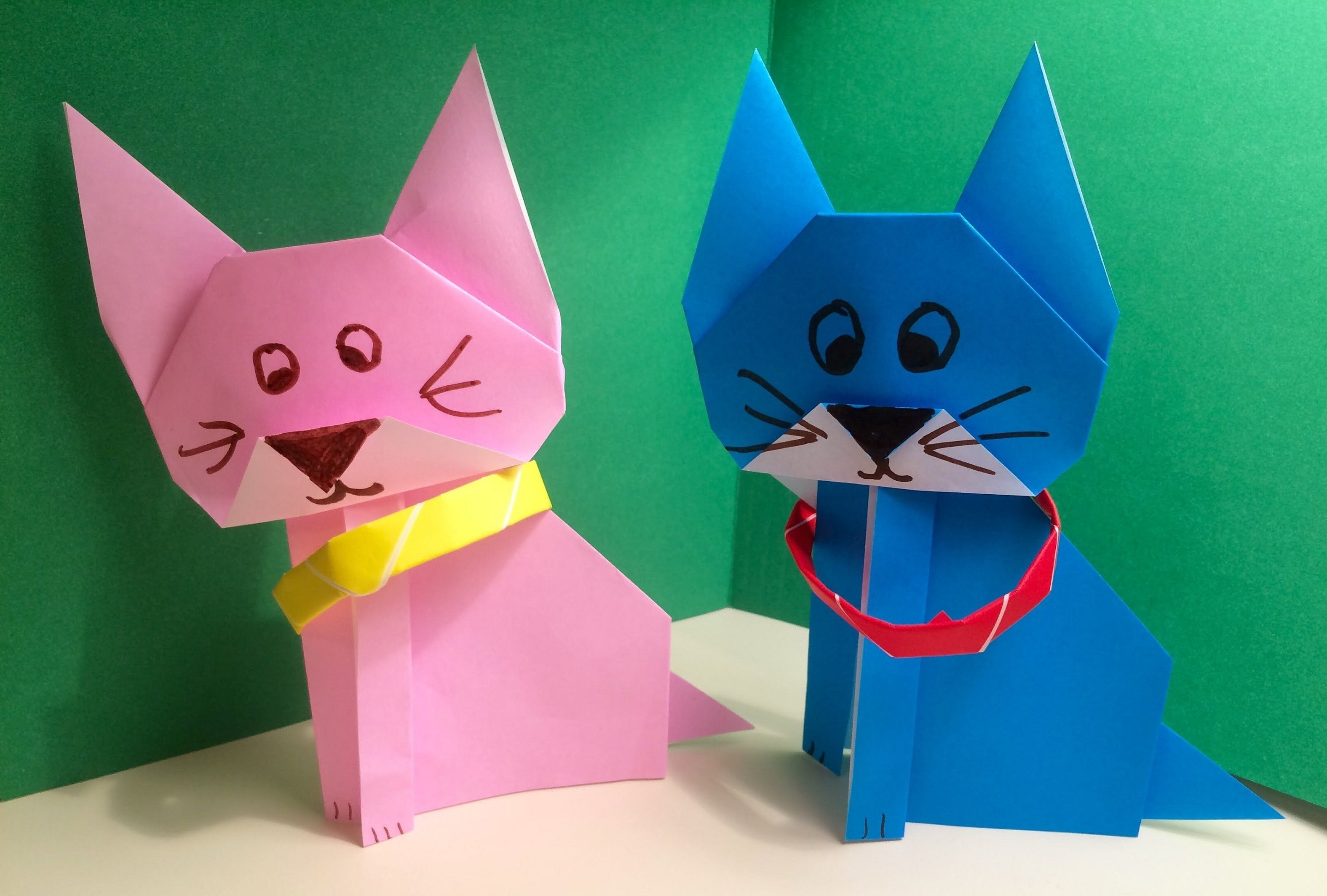 Оригами котёнок из бумаги