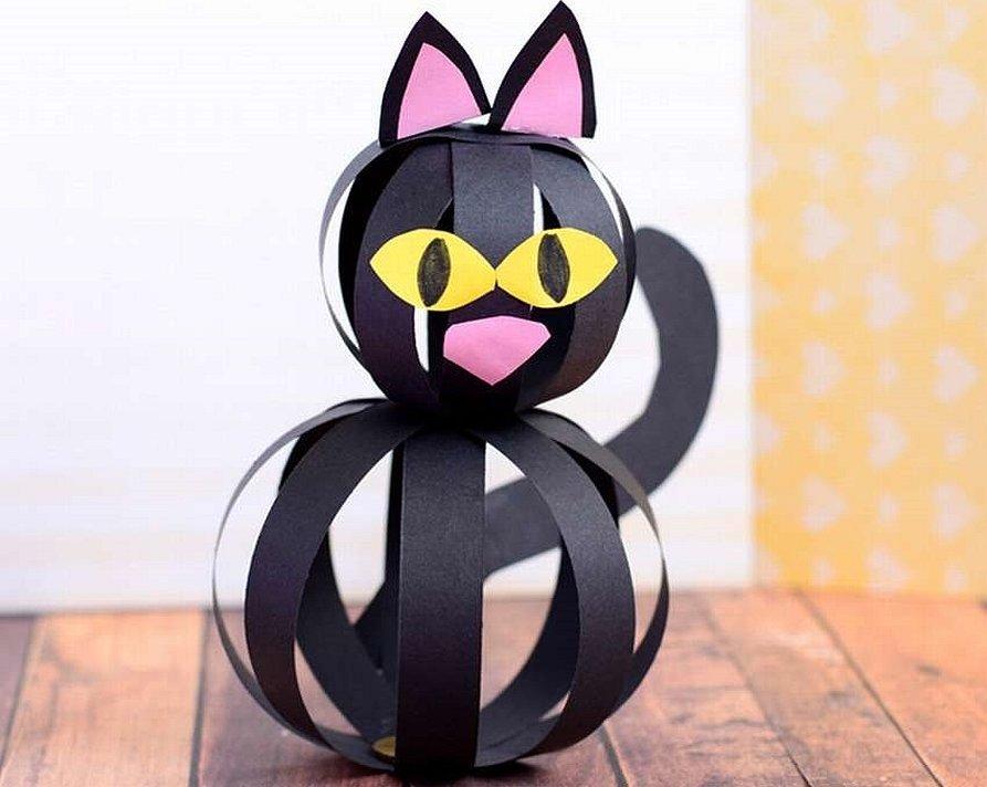 Поделка чёрный кот из бумаги хэллоуин