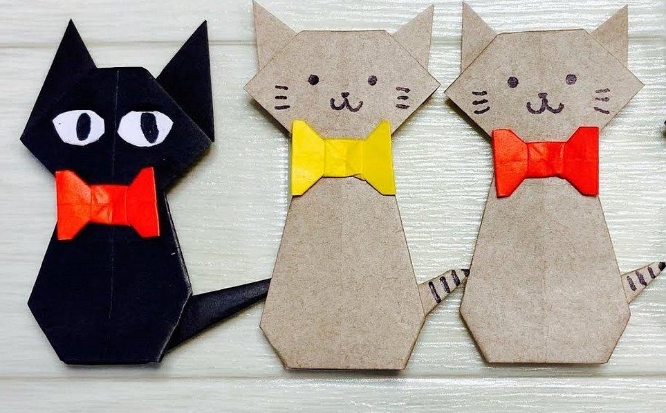 Поделка из картона котик
