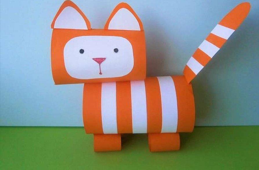 Сделать кота с дошкольниками из бумаги