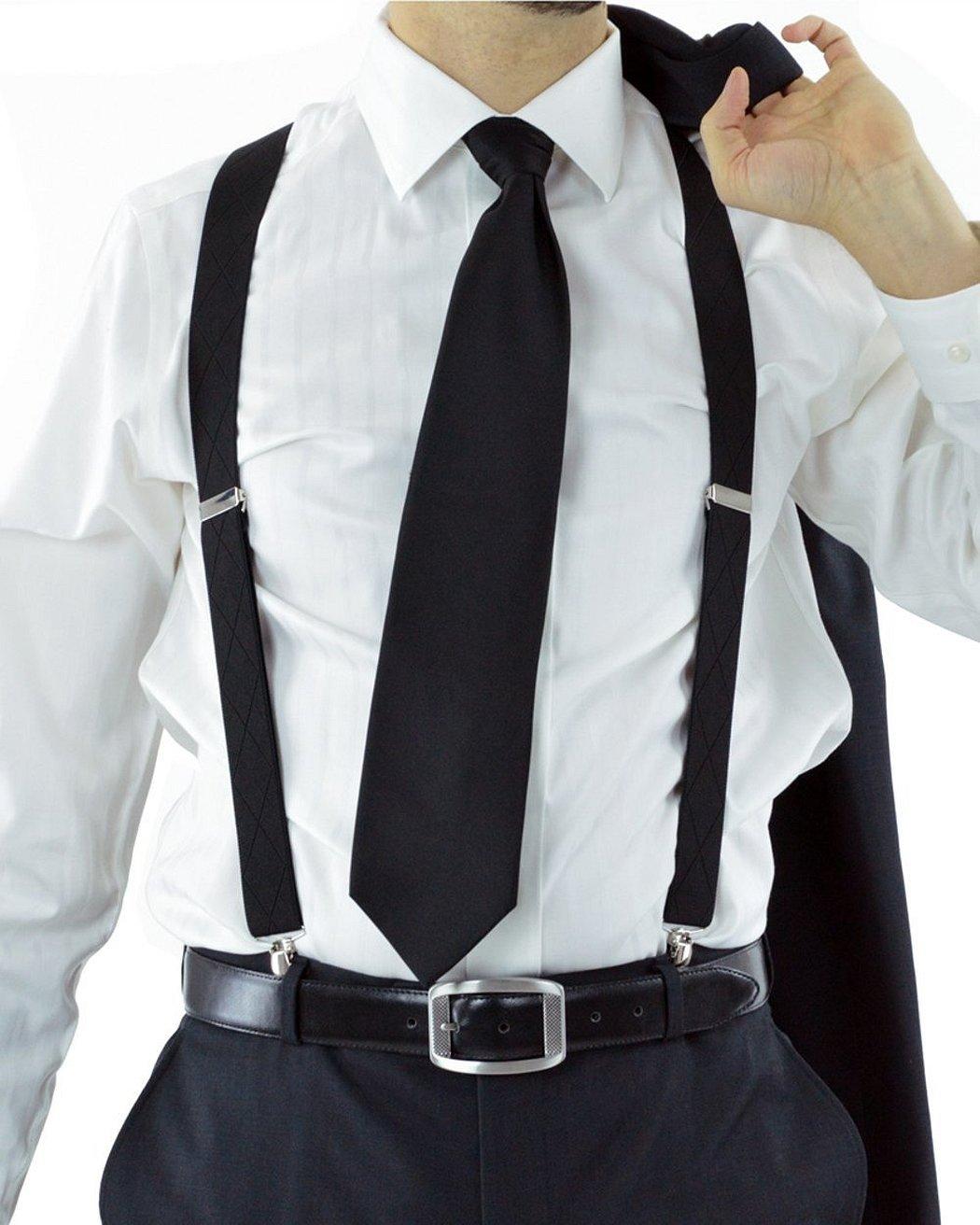 Белая рубашка с подтяжками