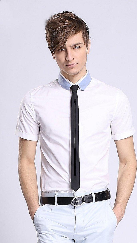Белая рубашка узкий галстук зауженные