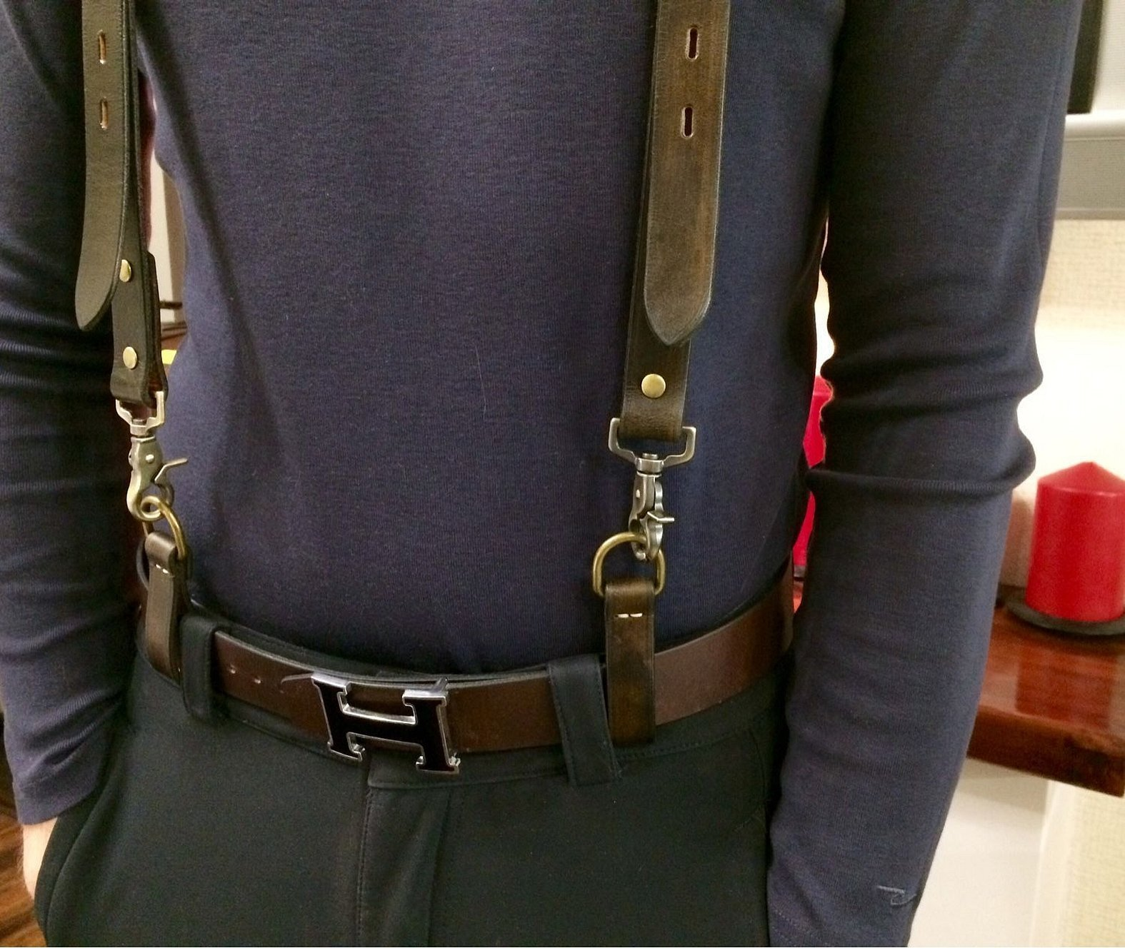 Кожаные подтяжки мужские с ремнем