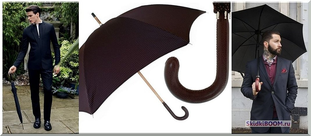 Черный зонт трость с деревянной ручкой
