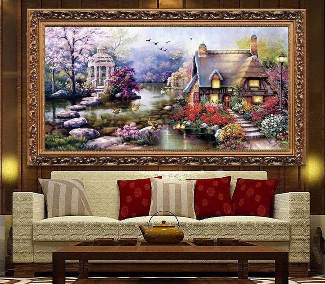 Картина алмазная мозаика в интерьере