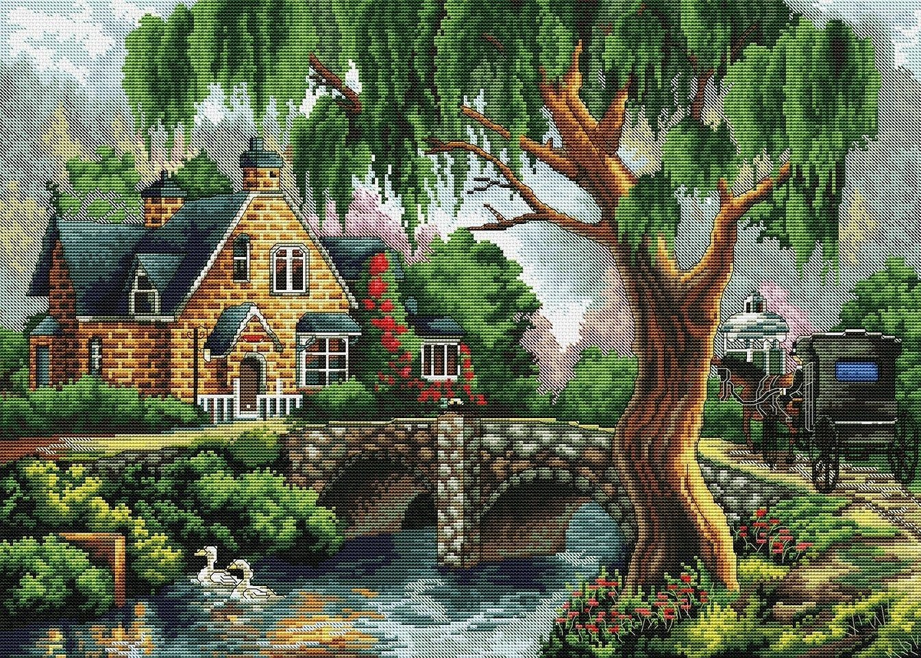 Картина бисером лесной домик